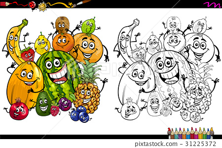 cartoon fruits coloring page 31225372