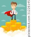 superhero proudly standing on the huge money 31226145