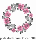 Watercolor floral wreathwith pink flowers 31226708