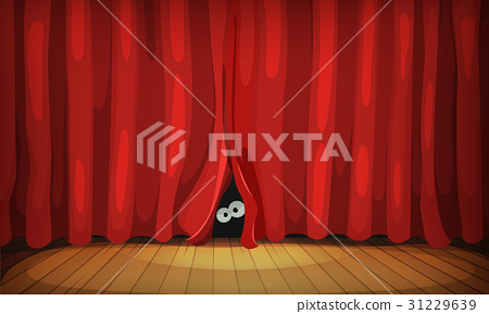 Eyes Behind Red Curtains On Wood Stage 31229639