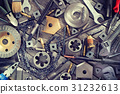 Industrial tools on a wooden surface. 31232613