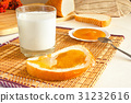 glass of milk and toast with honey 31232616