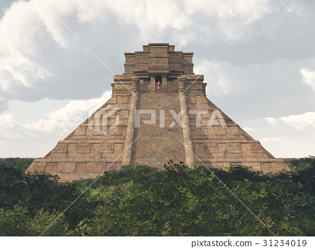 Mayan temple in the jungle 31234019
