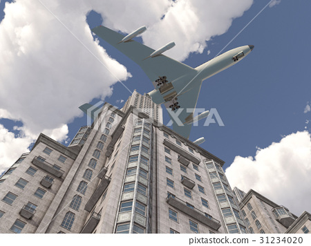 Airliner flying over a skyscraper 31234020