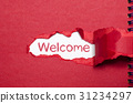 The word welcome appearing behind torn paper. 31234297