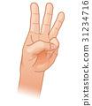 손가락 세 손가락으로 셀 31234716
