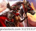 Horseman in armor standing. 31235317