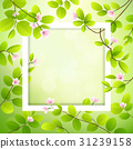 Pink flower and leave with white frame 31239158