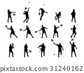 graphic design silhouette of tennis player 31240162
