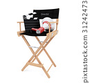 Director's chair with clapper board and megaphone  31242473