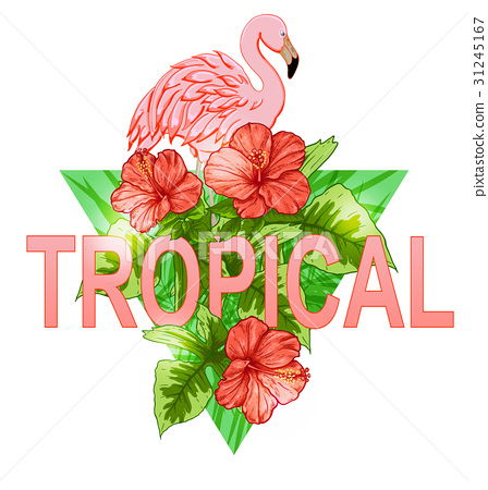 Tropical banner with flamingo 31245167
