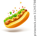 Hot dog with sausage lettuce and mustard 31245798