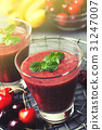 smoothie with cherry and banana 31247007