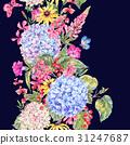 Watercolor Vintage Floral Seamless Border 31247687