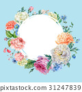 Watercolor round frame with peonies, roses 31247839