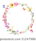 Watercolor round frame with wildflowers 31247986