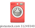 red washing machine, 3D rendering 31249340