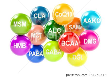 Set of amino acids. AAKG, ALC, BCAA, CLA, CoQ10 31249342
