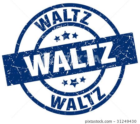 waltz blue round grunge stamp 31249430