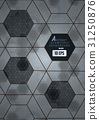 Abstract black and gray hexagonal tile  background 31250876