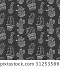 Cute hand drawn vector cactuse pattern 31253566