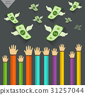 Hand and  Money  illustration with wings flying 31257044