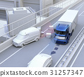 Truck that avoided falling objects on highway. Concept image of obstacle avoidance support 31257347