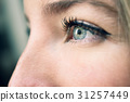 Close-up shot of blue eye of young woman 31257449