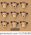 Monkey emotions on Brown background 31258288