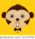 flat vector image of monkey face on yellow  31259782