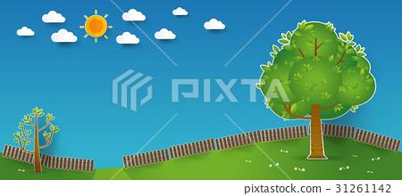 Natural landscape in pop up paper cut style. 31261142