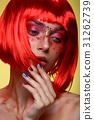 Beautiful girl in red wig 31262739