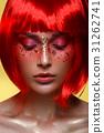 Beautiful girl in red wig 31262741