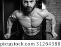 Brutal caucasian handsome fitness men on diet training chest pum 31264388