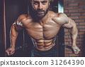 Brutal caucasian handsome fitness men on diet training chest pum 31264390