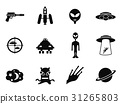 alien and ufo icons set 31265803