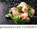 Raw chicken legs with green spinach and spice 31266903
