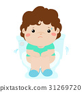 Boy sitting toilet  with diarrhea cartoon vector. 31269720