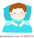 Little sick boy in bed cartoon vector. 31269725