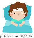 Little sick boy in bed cartoon vector. 31270367