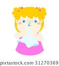 Sick girl runny nose vector. 31270369