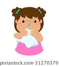 Sick girl runny nose vector. 31270370