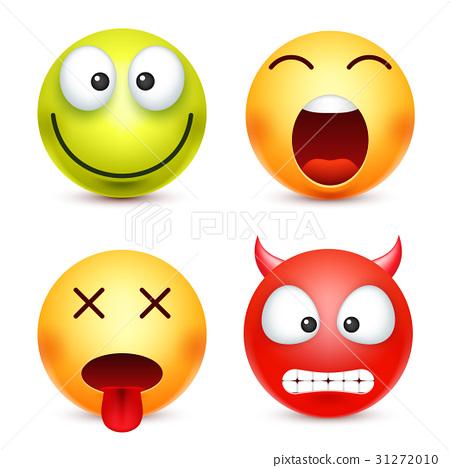 Smiley set, green,happz, devil emoticon. Yellow 31272010