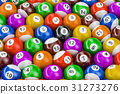 Billiard balls colorful background, 3D rendering 31273276