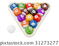 Billiard balls, 3D rendering 31273277