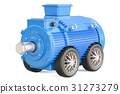 Blue industrial electric motor on car wheels 31273279