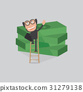 Businessman Reach Piles Of Banknotes By Ladder 31279138