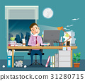 Businessman is hard working at night 31280715