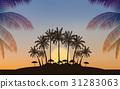Silhouette palm tree on island under sunset sky 31283063