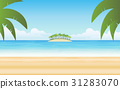 palm tree on island and blue sky background 31283070